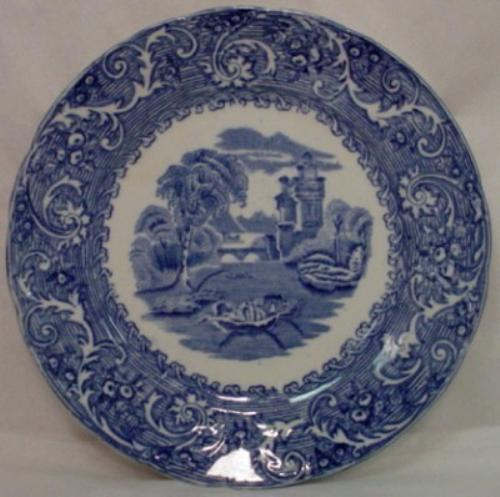 BOURNE & LEIGH china RHINE blue LUNCHEON PLATE - Set of Two (2) - 9-1/4