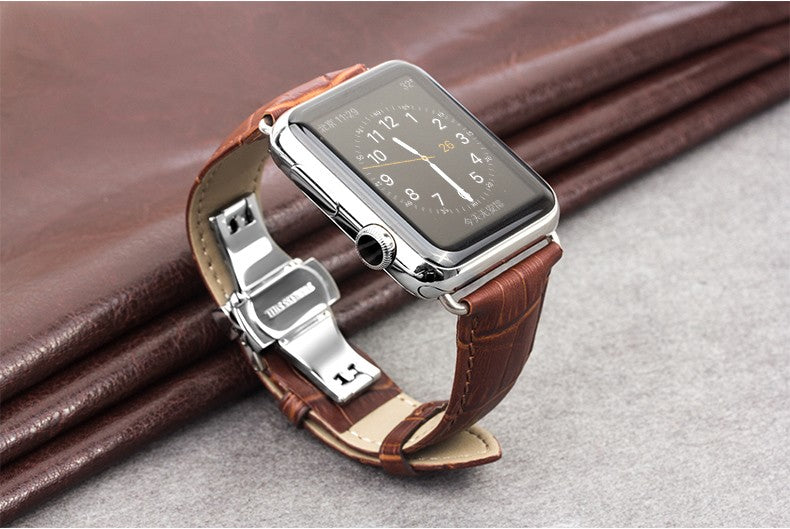 Genuine Leather Strap With Stainless Steel Connection - My Apple Watch Band