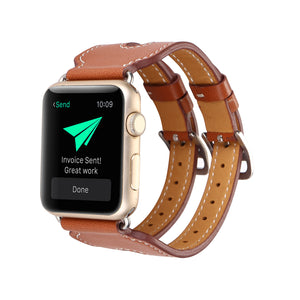 Double Band Leather Strap - My Apple Watch Band