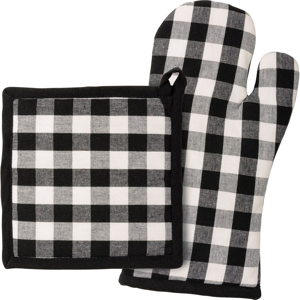 Black Buffalo Check Hot Mitt & Pad SET