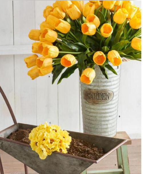 "Real Touch Yellow Tulip  19.5""L"
