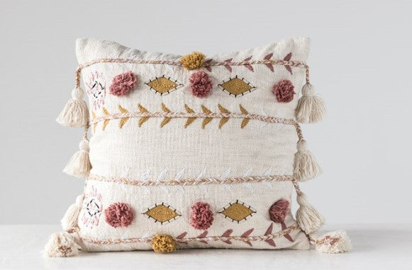 """Boho Vibes"" Embroidered Pillow"