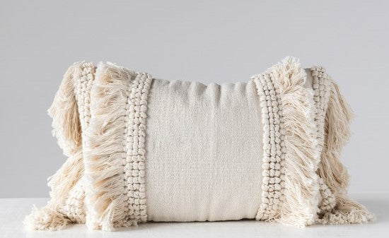Cream Fringe Lumbar Pillow
