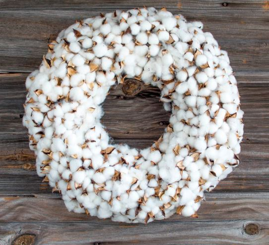 Large Cotton Burst Wreath, 19""