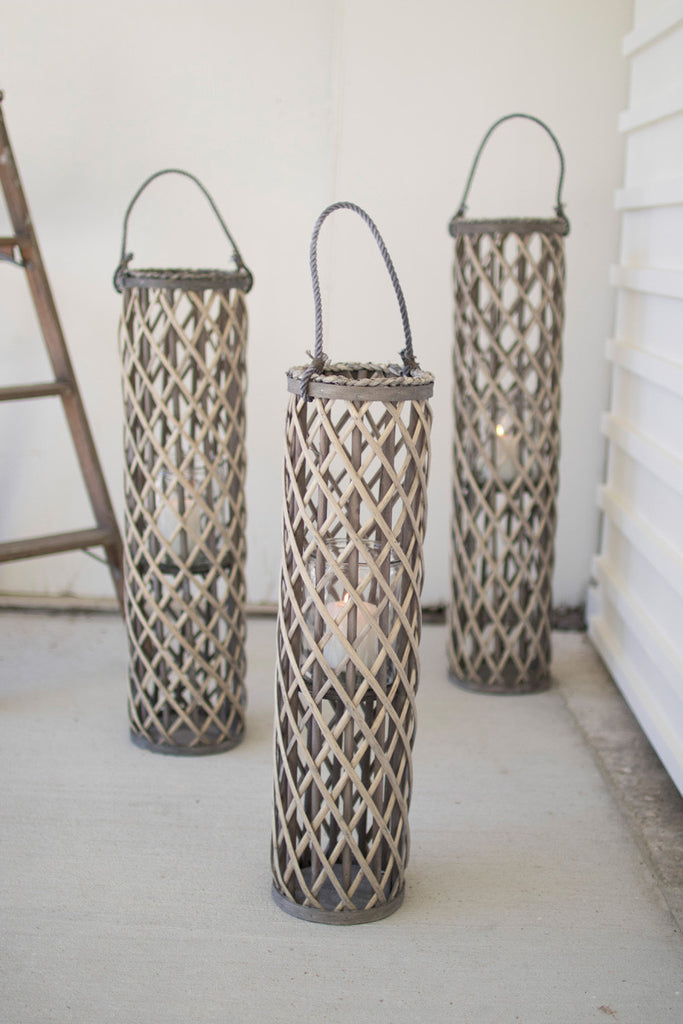 Weathered Willow FLOOR lantern with Glass