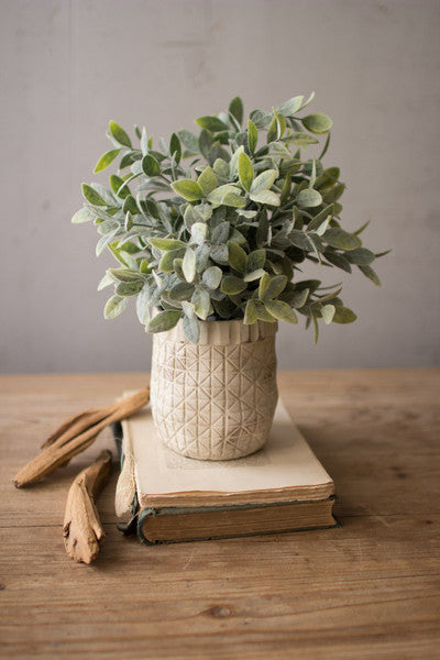 Artificial Sage in Criss-Cross White Pot