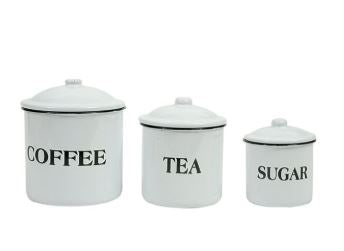 Coffee, Tea, & Sugar Enamel Canisters (Set of 3)