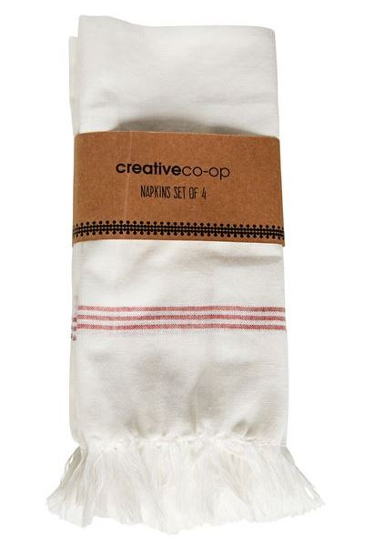 Square Cotton White Napkin w Red Stripe