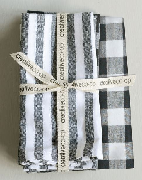 Square Cotton Black/Grey/White Napkins (Set of 4)
