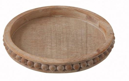 Round Beaded Wooden Tray