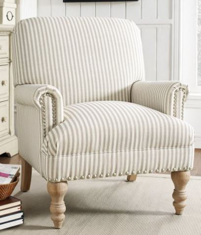 Farmhouse Striped Accent Chair (STORE pickup only)