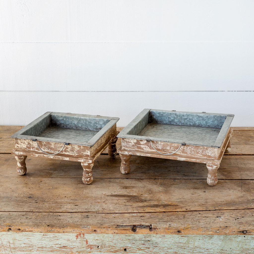 Fir Wood & Metal Standing Tray