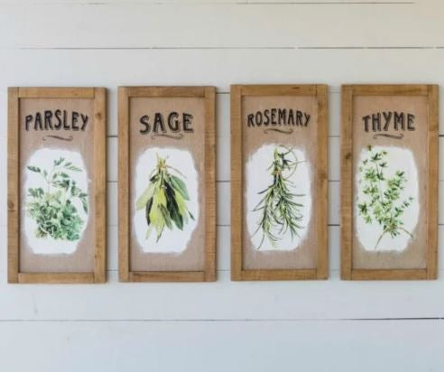 Large Framed Burlap Herb Prints (Set of 4)