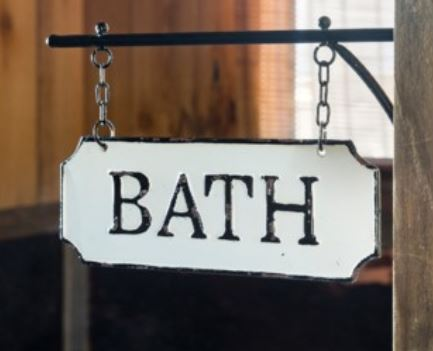 "Metal ""Bath""  Hanging Sign"