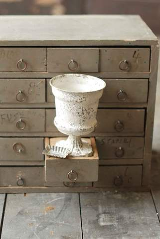 Antiqued White Urn, 6""