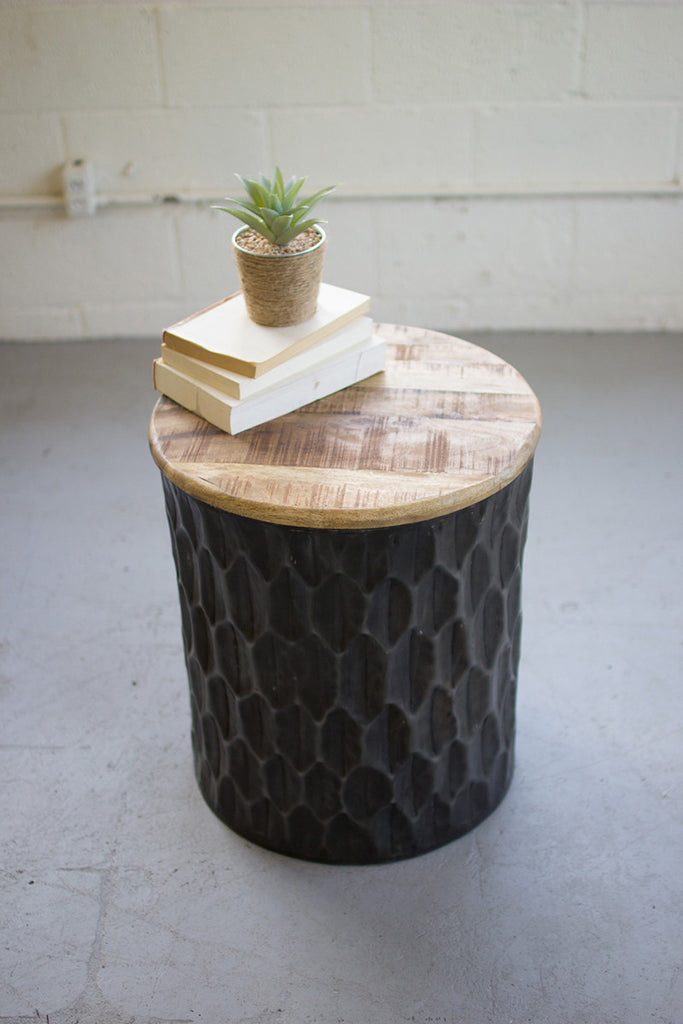 Pressed Metal Side Table with Mango Wood Top (In-Store Pickup Only)