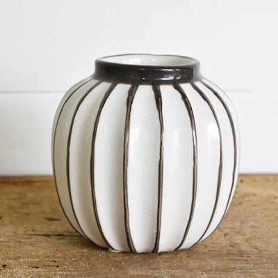 Stripe Fat Vase