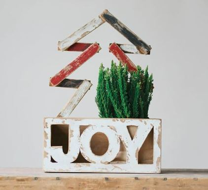 "Wooden ""Joy"" Container"