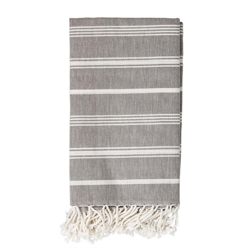 Gray & White Striped Fringe Throw