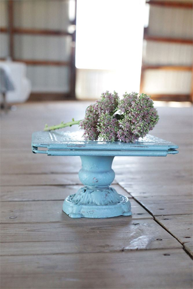 Blue Distressed Pedestal