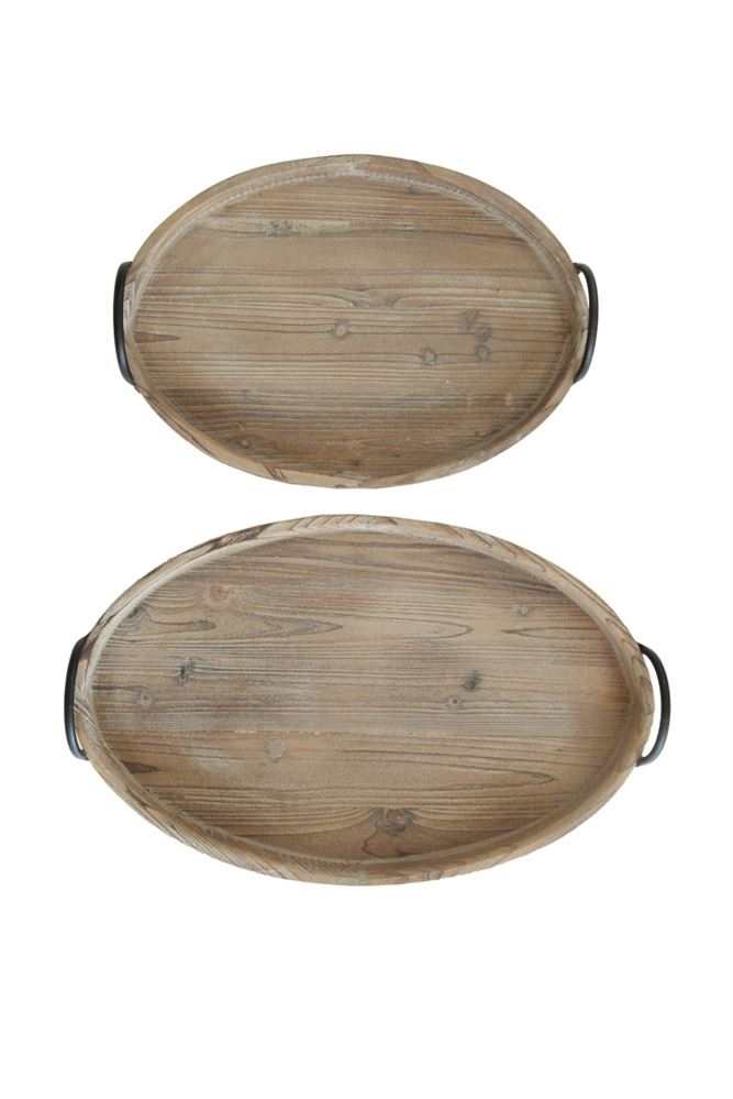 Wood Tray w/ Metal Handle