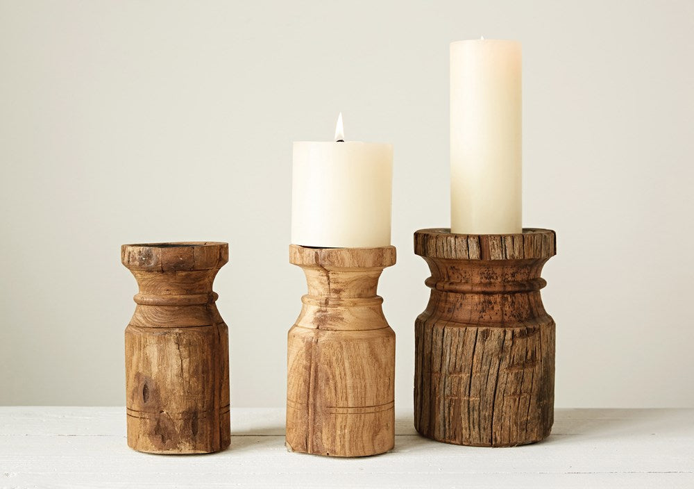 Wood Found Carved Pillar Candle Holder