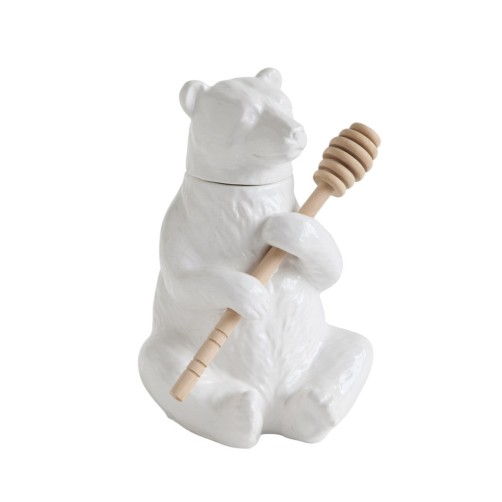"""Bubsy"" Bear Honey Pot with Bamboo Dipper"