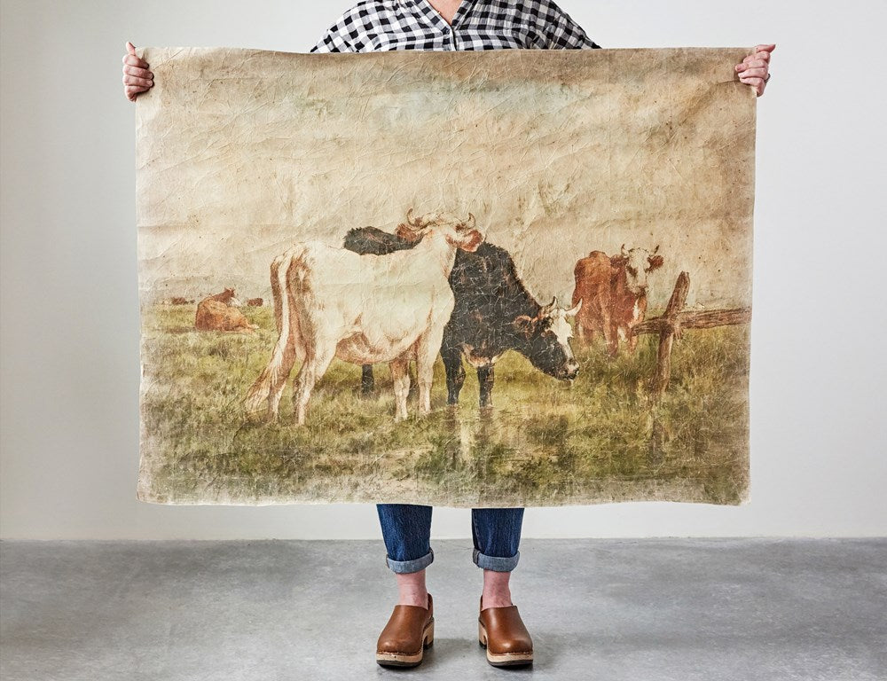 Vintage Cow Canvas Paper