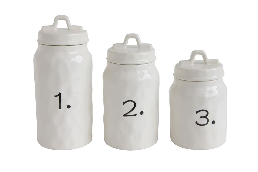Ceramic Canister Set w/Numbers (Set of 3)