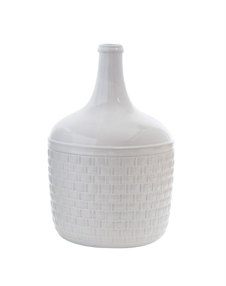 Ceramic Basket Weave Cellar Vase (Store pickup only)