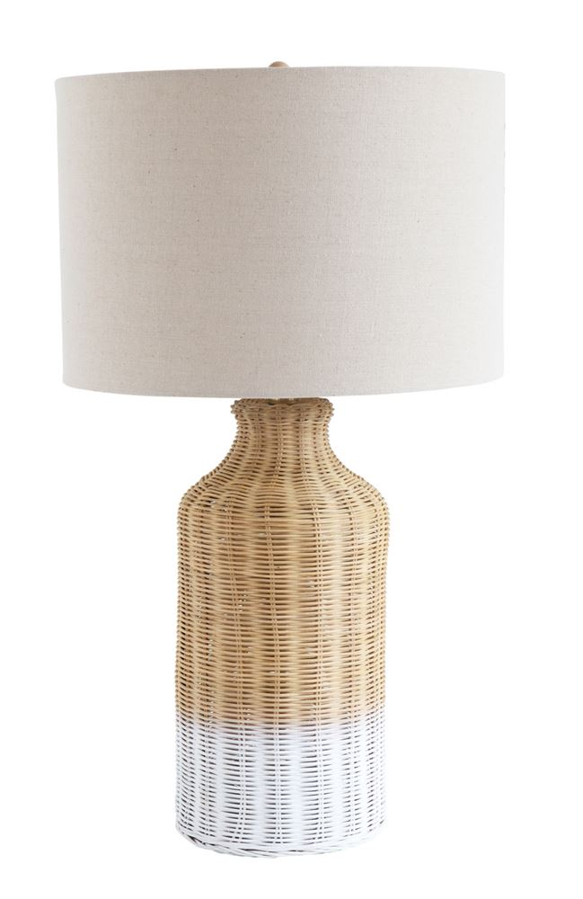Wicker Table Lamp with Linen Shade (Store Pickup Only)
