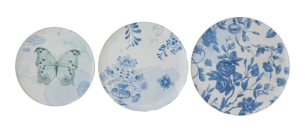 Spring Blue/White Enameled Plates