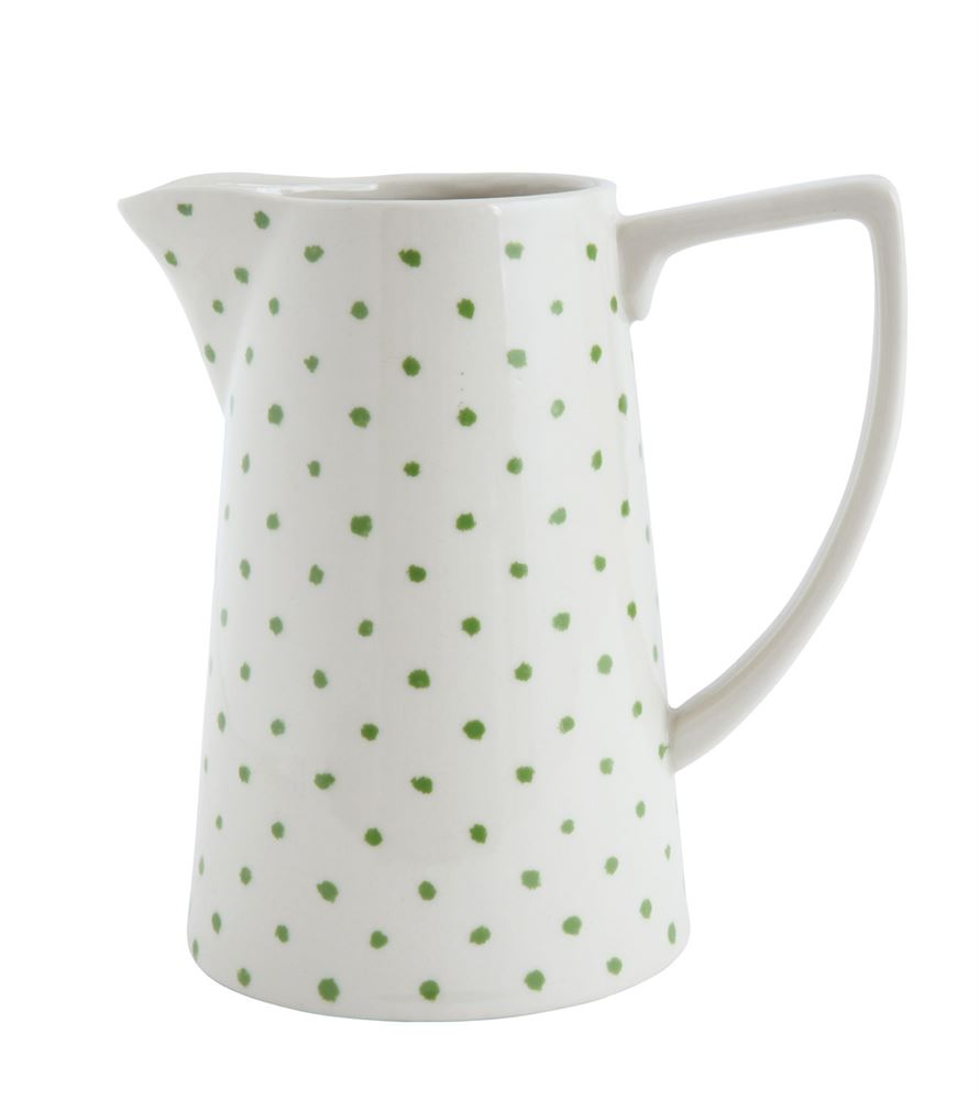 Stoneware Pitcher w/ Green Dots