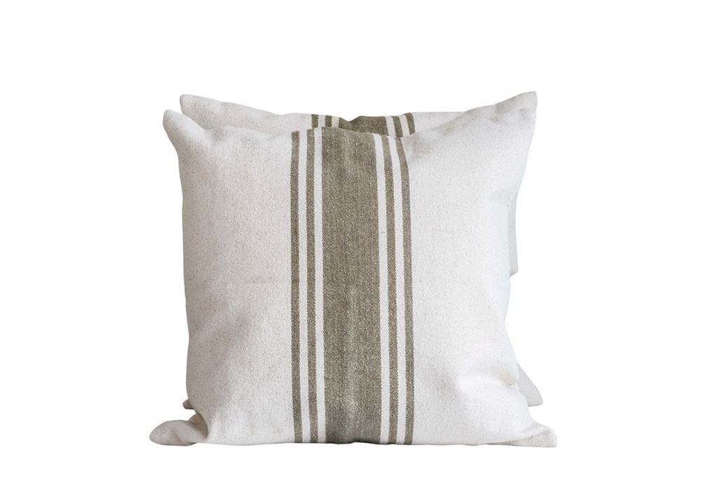 Olive Green Striped Canvas Pillow