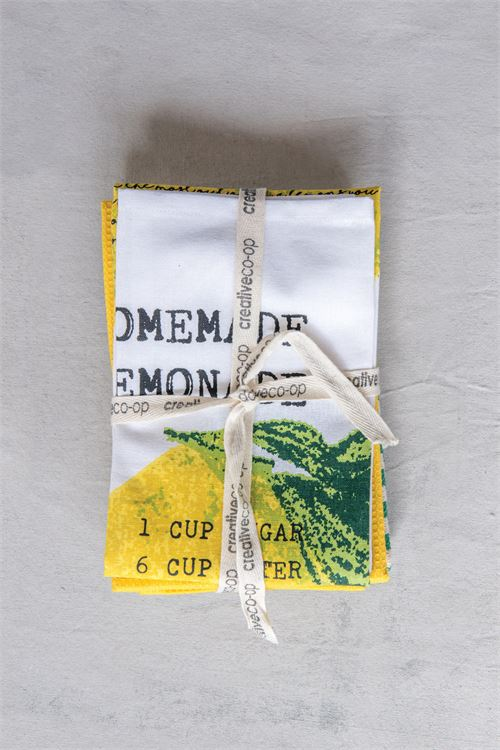 Set of 3 Cotton Tea Towels (Lemon)