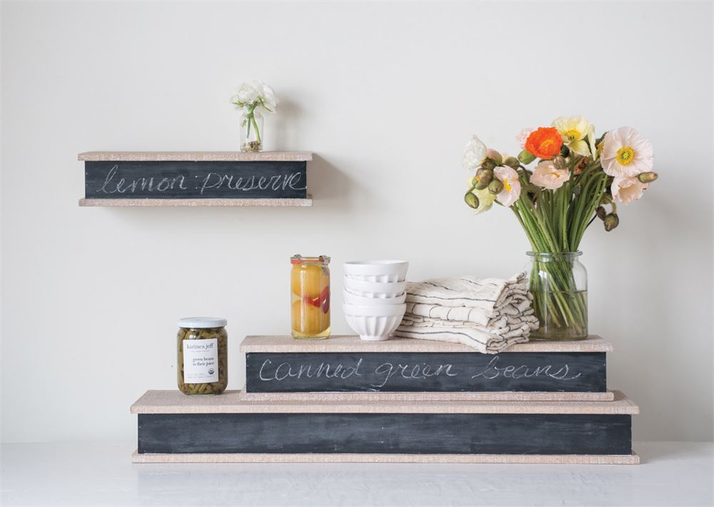 Wooden Wall Shelf with Chalkboard Front