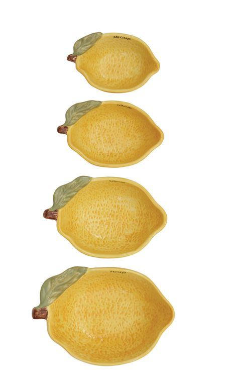 Lemon Stoneware Measuring Cups (Set of 4)