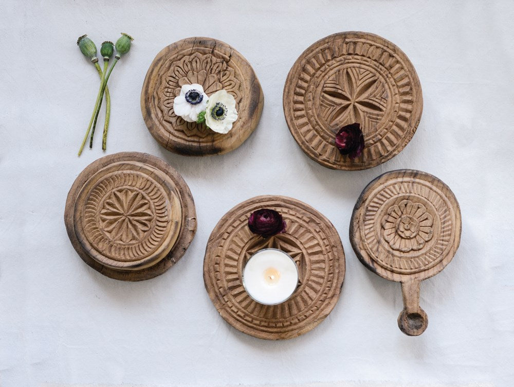 Round Hand-Carved Indian Bread Board