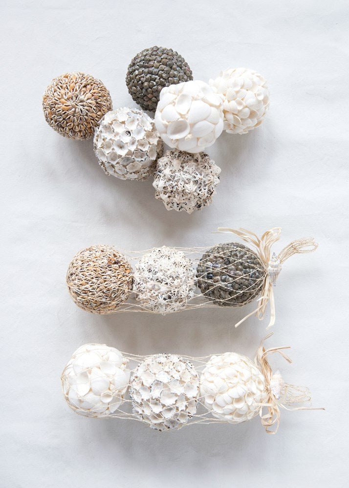 Seashell Orbs in Net Bag