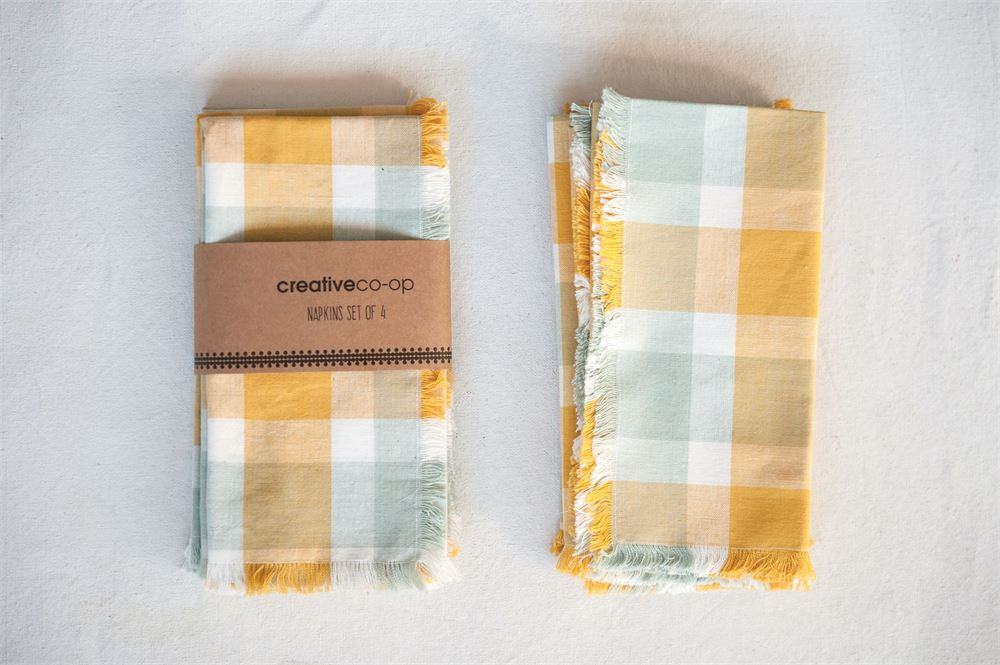 """Summer Plaid"" Cotton Square Napkins (Set of 4)"