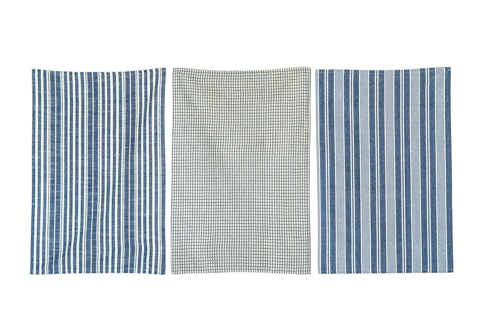 Set of 3 Blue Cotton Tea Towels