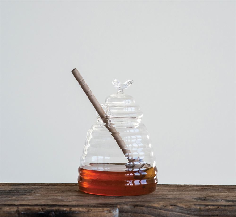 Glass Honey Jar w/ Wooden Dipper
