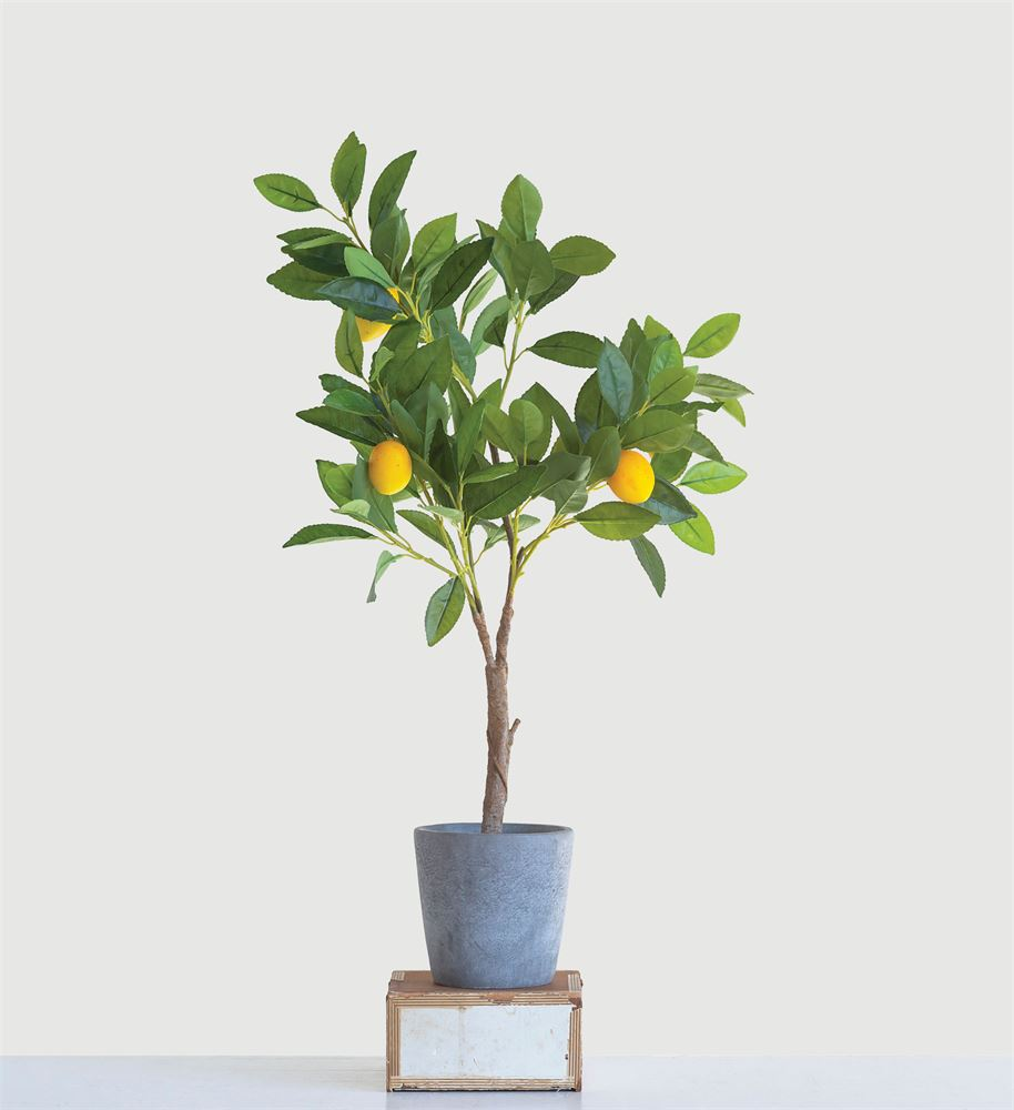 Faux Lemon Tree in Cement Pot (Store Pickup Only)