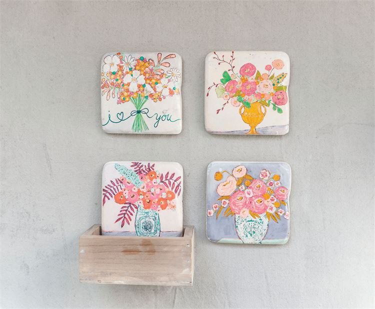 Floral Coaster Set (Set of 4)