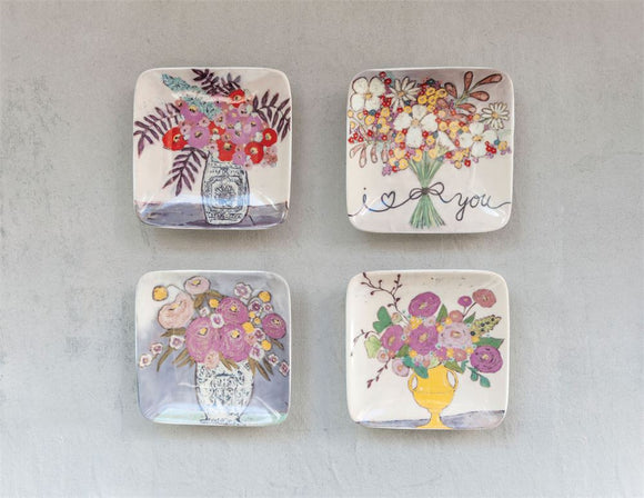 Stoneware Floral Plates, 4 1/2