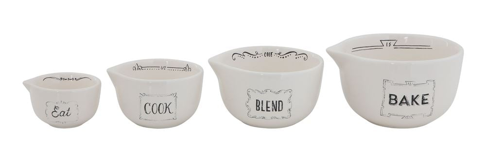 White/Black Stoneware Measuring Cups (Set of 4)