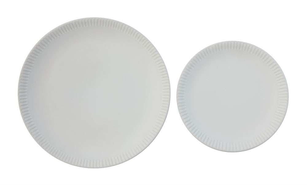 White Crimped Edge Ceramic Dinner Plate 10.5""