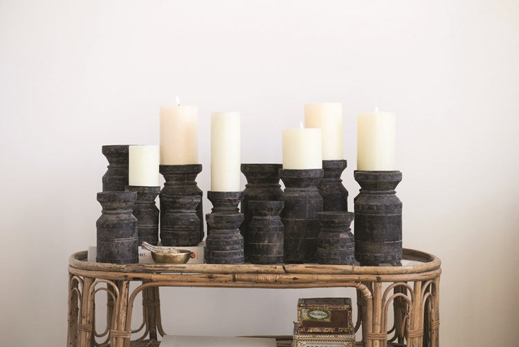 Found Wood Pillar Candle Holders, Black,