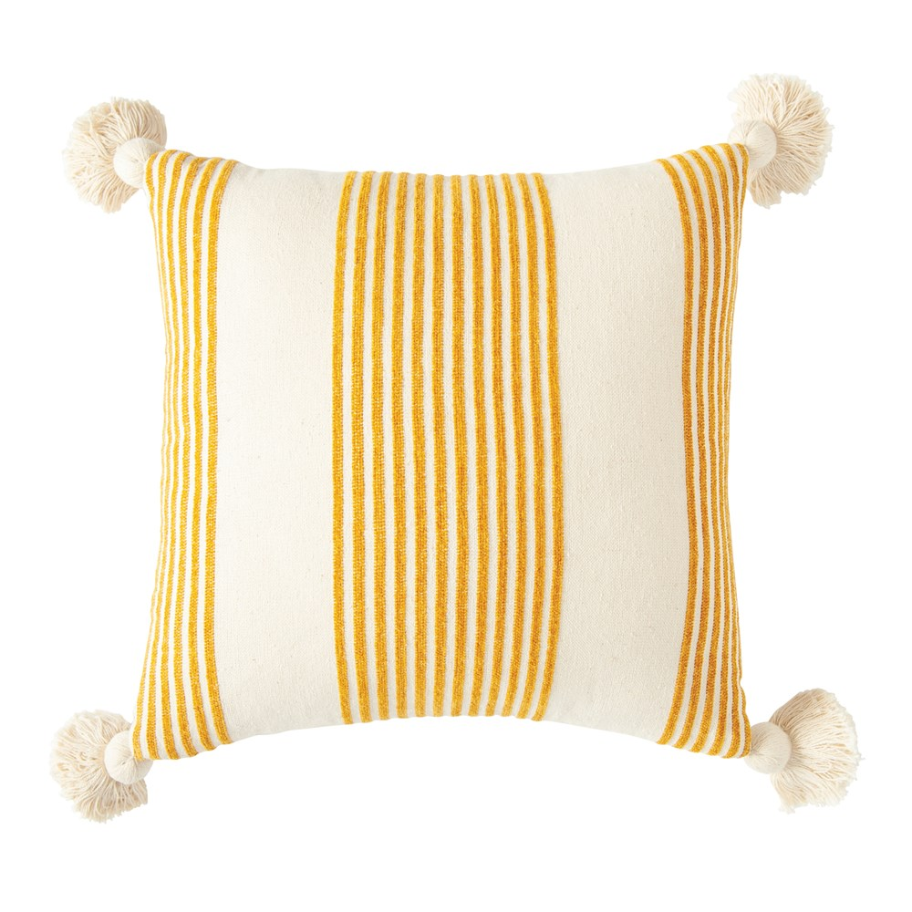 Square Cotton & Chenille Mustard Pillow