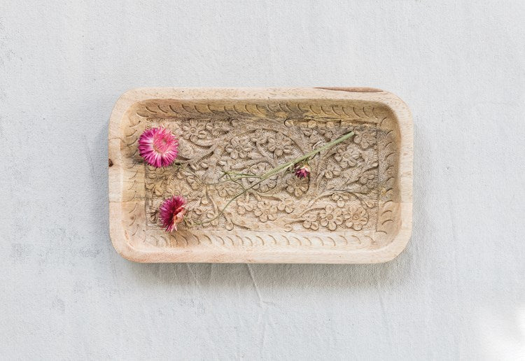 Hand-Carved Mango Wooden Tray